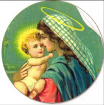 Mother Mary and Jesus with halos