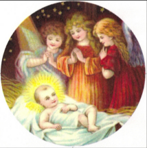 angels doting over baby Jesus
