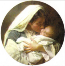 Mother Mary tenderly kisses the Christ child