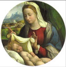Mother Mary coverng up the naked Christ child