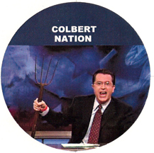 Steven Colbert with a pitchfork