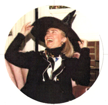 Hillary Clinton wearing a witch's hat