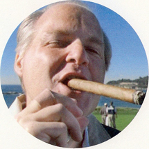 Rush Limbaugh swings a big cigar
