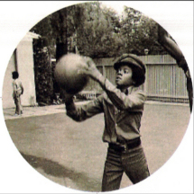 young Michael Jackson playing basketball