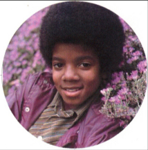 boyhood image of Michael Jackson in purple flowers