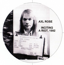 Axl Rose mugshot, St Louis 1992 - inciting a riot!!