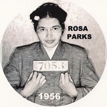 1956 mugshot of Rosa Parks famous arrest for refusing to give up her public bus seat to a white man