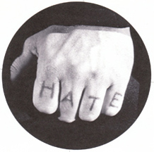 Robert Mitchum's hand with the H-A-T-E tattoo in Night of the Hunter