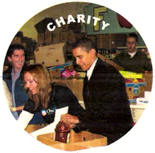 Barack Obama loading boxes at a food pantry