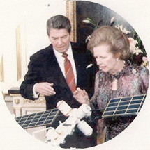Ronald Reagan and Maggie Thatcher examine a Star Wars model