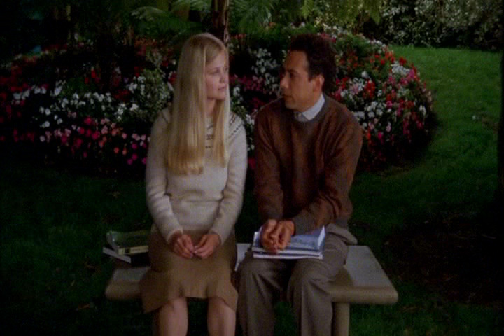 Lindy Newton as college girl Trudy Ellison and Luiggi Debiasse as young Adrian Monk