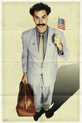 Borat Sagdiyev waving American flag