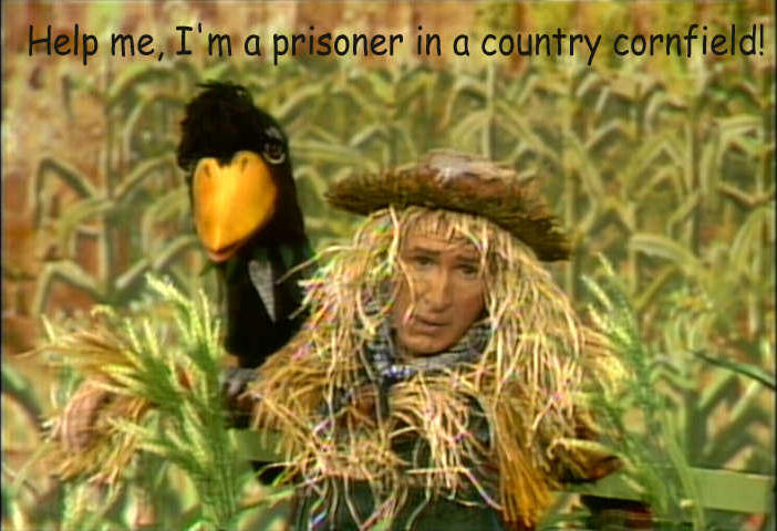 Stringbean as the Hee Haw Scarecrow