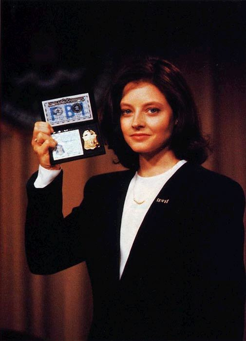 Jodie Foster as Clarice Starling showing off her FBI badge in Silence of the Lambs