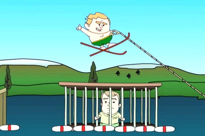 Lil' George Bush waterskis over Lil' John McCain's tiger cage