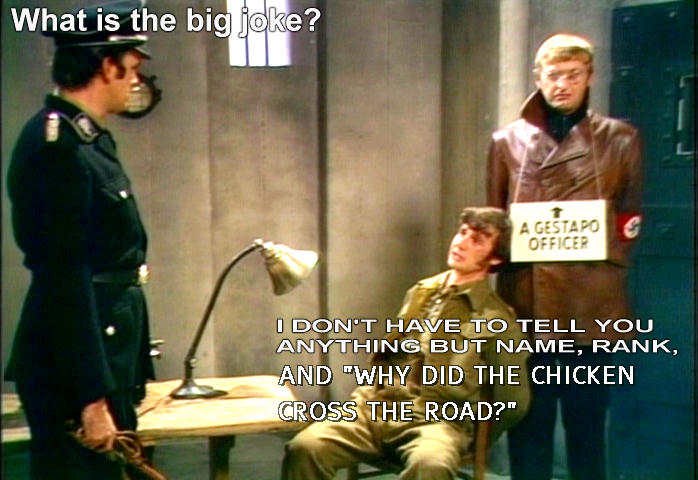 John Cleese, Michael Palin and Graham Chapman, a Gestapo officer