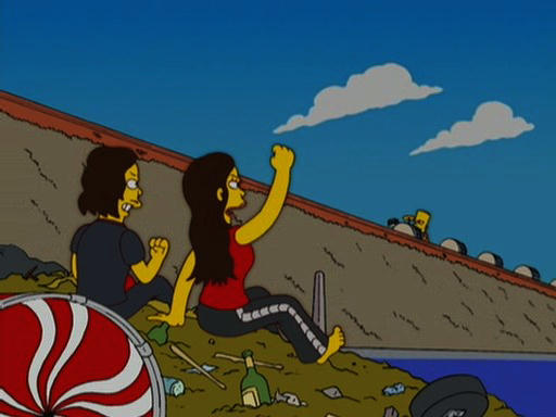 Meg White gives Bart Simpson a raised fist on The Simpsons HABF18