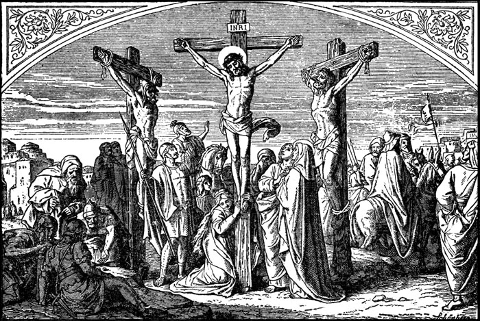 dramatic drawing of the crucifixion of Christ and the three crosses