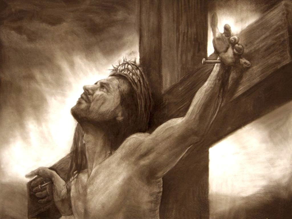 ... drawing of Jesus Christ on the cross - desktop wallpaper image