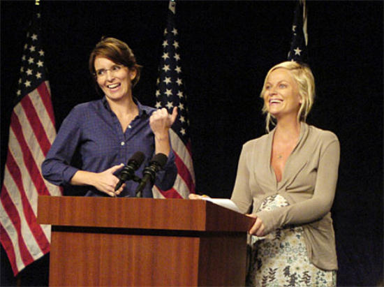 Tina Fey as Sarah Palin, Amy Poehler as Hillary Clinton, 9-13-2008