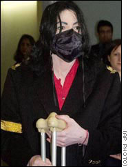 Michael Jackson on crutches