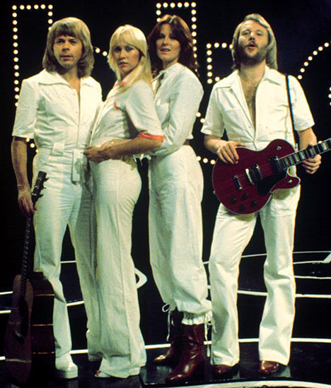 Abba in 1970s white disco clothes
