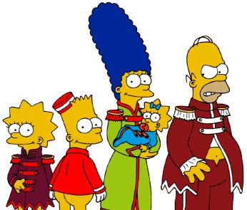 The Simpsons wearing Beatles Sgt Pepper outfits