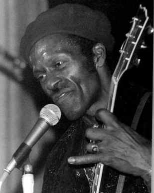 Chuck Berry performing on stage