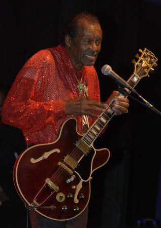 Chuck Berry on 10-18-2001 at his 75th birthday party