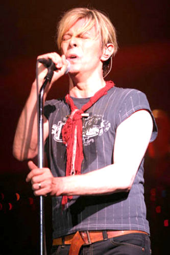 David Bowie on the mic