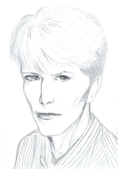 beautiful drawing of David Bowie