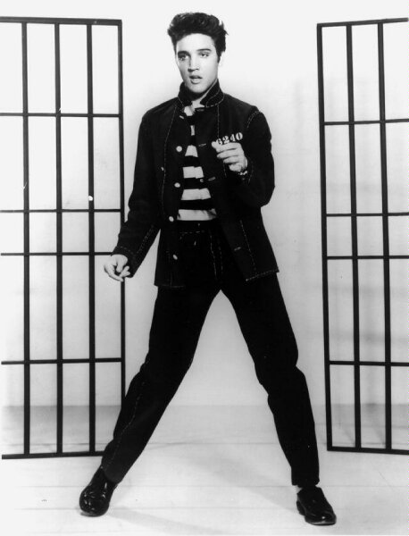 Elvis Presley in jail, a movie still from Jailhouse Rock, 1957