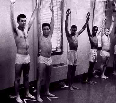 Elvis Presley in his underwear during Army physical.  He wore briefs.  About as close to a naked Elvis Presley picture as you'll find.