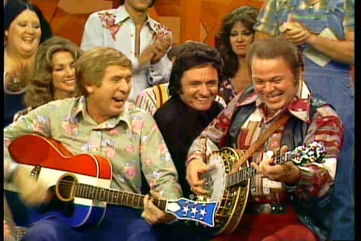 picking and grinning with Buck Owens, Roy Clark and Johnny Cash
