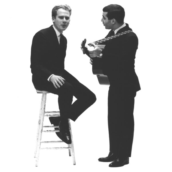 Art Garfunkel and Paul Simon in suit and tie