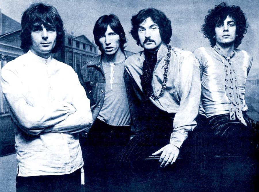 desktop wallpaper image of young Pink Floyd, with Syd Barrett
