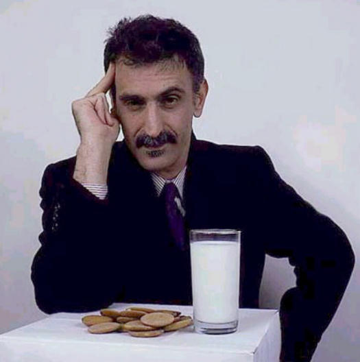 Frank Zappa with milk and cookies