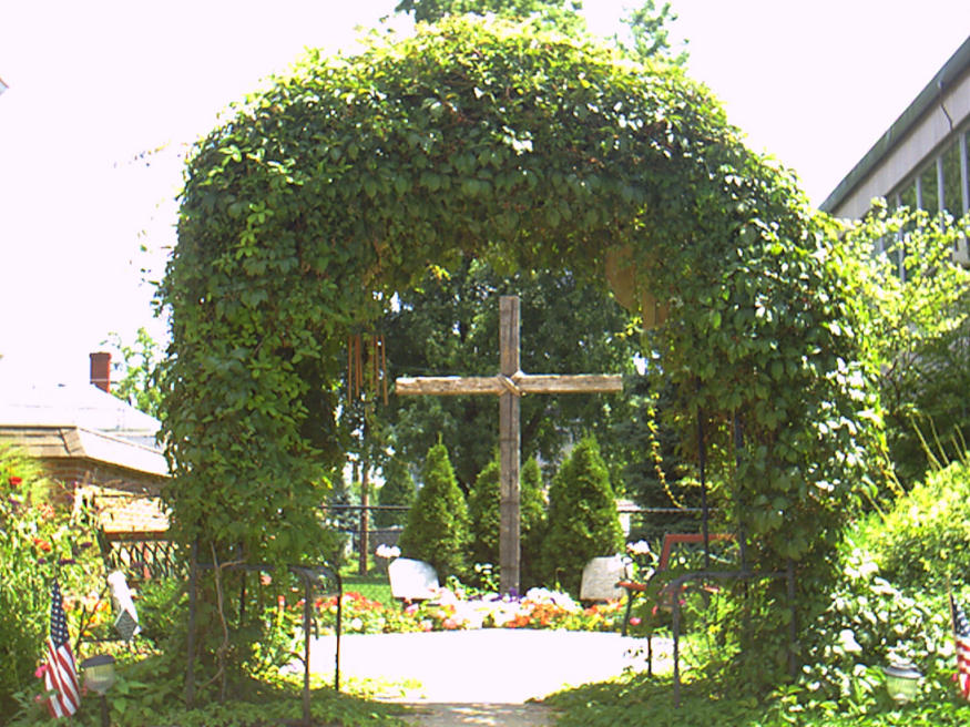 St Paul's Methodist Church garden in Rushville, Indiana