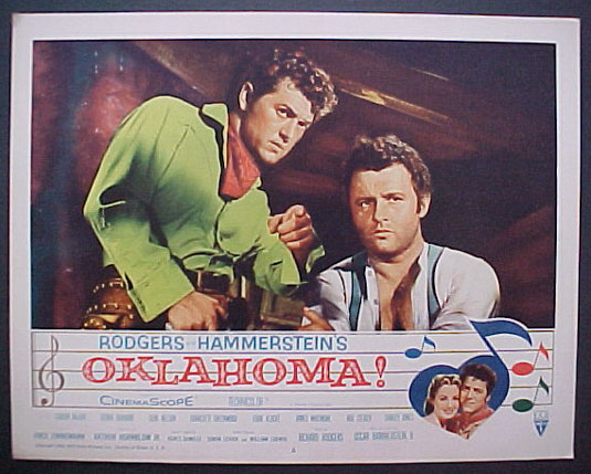 Gordon MacRae and Rod Steiger as Curly McLain and Jud Fry in Oklahom!
