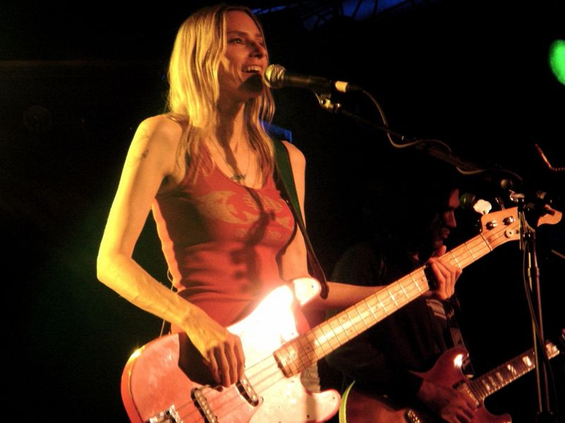 Aimee Mann playing bass
