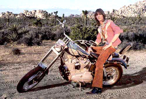Gram Parsons on a motorcycle